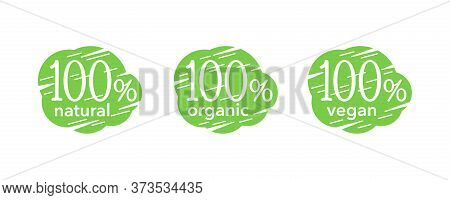 100 Natural, 100 Organic And Vegan Icons Set For Healthy Eco Products Packaging - Isolated Vector Ba