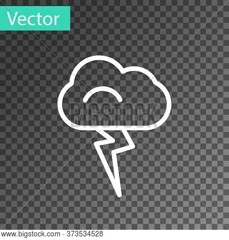 White Line Storm Icon Isolated On Transparent Background. Cloud And Lightning Sign. Weather Icon Of
