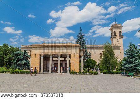 Gori, Georgia - July 15, 2017: View Of Stalin Museum With Stalin Birthouse In Gori Town, Georgia