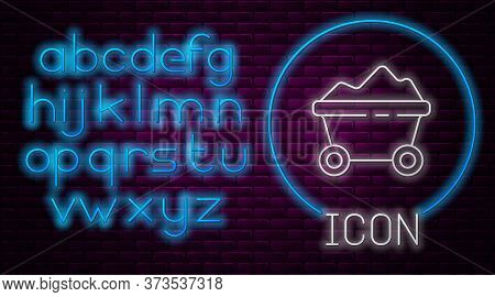 Glowing Neon Line Coal Mine Trolley Icon Isolated On Brick Wall Background. Factory Coal Mine Trolle