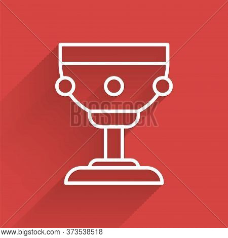 White Line Christian Chalice Icon Isolated With Long Shadow. Christianity Icon. Happy Easter. Vector