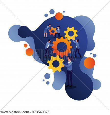 People Team With Gears - Business Management And Working Process Conceptual Illustration With Diagra