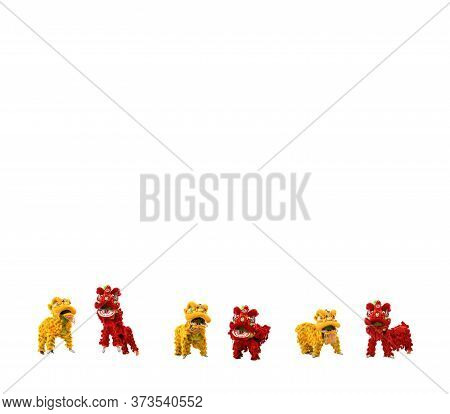 Manipulated Gold Yellow And Red China Lion  Celebration, This Is An Asian Belief Traditional Activit