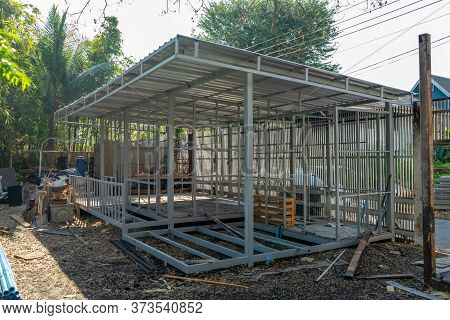 Underconstruction Housemaid Small Temporary Home Is Made From Steel Pole Structure Without Cement An