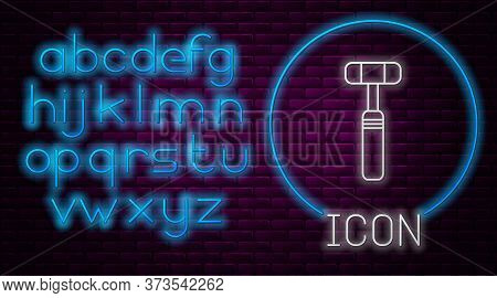 Glowing Neon Line Neurology Reflex Hammer Icon Isolated On Brick Wall Background. Neon Light Alphabe