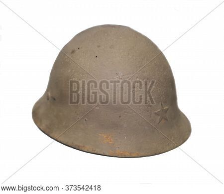 Military Helmet Of The Soviet Soldier Of The Red Army. Military Equipment Of The Second World War.