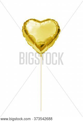 Gold Foil Balloon. Golden Helium Balloon Heart Isolated On A White Background. Love Concept. Holiday