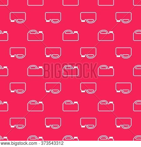 White Line Plastic Canister For Motor Machine Oil Icon Isolated Seamless Pattern On Red Background.