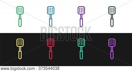 Set Line Spatula Icon Isolated On Black And White Background. Kitchen Spatula Icon. Bbq Spatula Sign