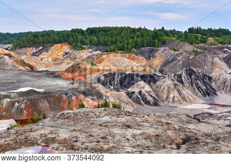 Multi-colored Clay Hills And Ravines On The Site Of An Old Kaolin Quarry