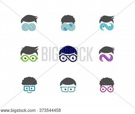 Set Of Geek Infinity Logo Vector Template, Creative Geek Logo Design Concept