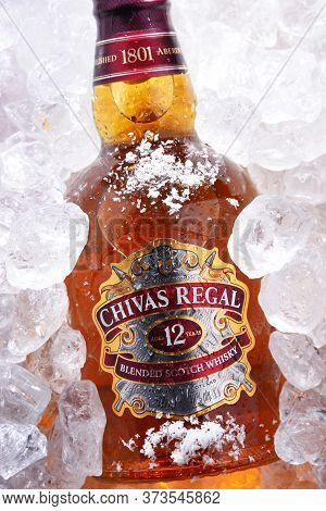 Bottle Of Chivas Regal Whisky In Crushed Ice