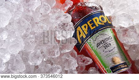 Bottle Of Aperol In Crushed Ice