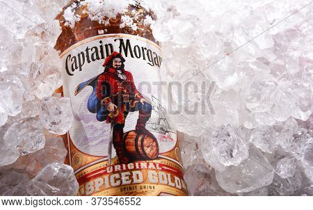 Bottle Of Captain Morgan Rum In Crushed Ice