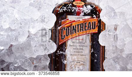 Bottle Of Cointreau Triple Sec In Crushed Ice
