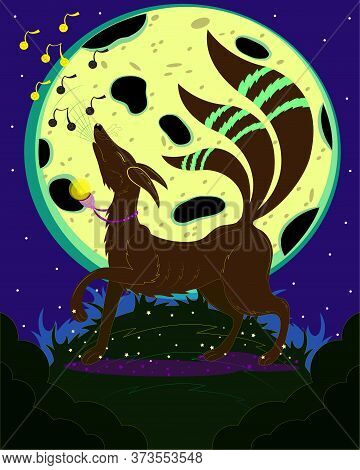 Brown Fox Sings To The Moon. Vector Illustration Of A Magic Fox.