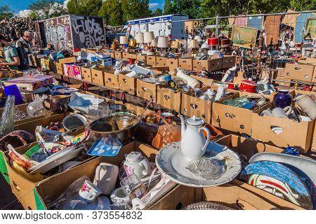 Berlin, Germany - August 6, 2017: View Of A Flea Market In Mauerpark In Berlin.
