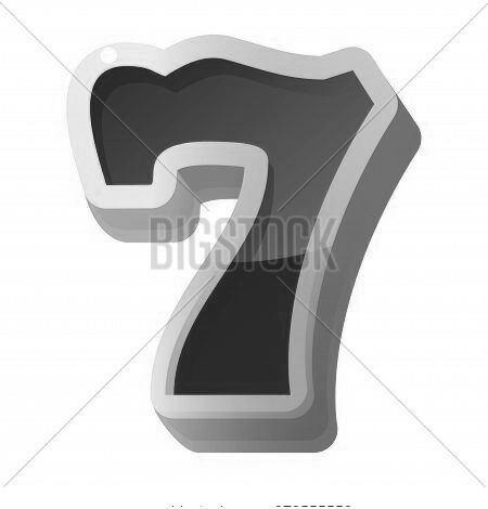 Lucky Seven Red Sign, Icon. Gambling Casino, Slot Machine Element. Winning 7 Number, Digit, Numeral.