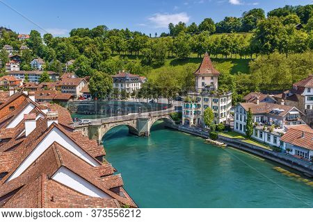 View Of Aare River In Bern Old Town, Switzerland