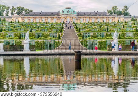 Potsdam, Germany - August 14, 2017: Weinbergterrassen Terraces And Sanssouci Palace In Potsdam, Germ