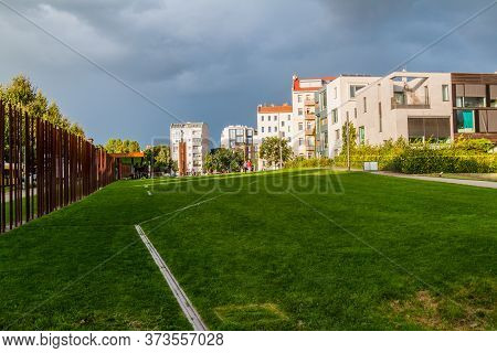 Berlin, Germany - August 21, 2017: Berlin Wall Memorial Gedenkstatte Berliner Mauer In Berlin, Germa