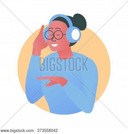 Vector Illustration Of A Girl Listening To Music On Headphones. Beautiful Stylish Girl Wearing Headp