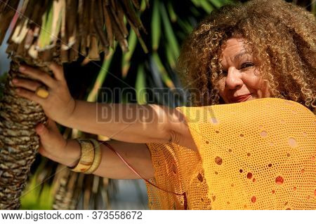 Salvador, Bahia - Brazil - July 21, 2016: Lia Chaves, Singer Is Seen In The City Of Salvador.