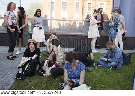 Moscow, Russia - 26.06.2020, People Gathered Outside Court Behind Police Barriers Friday Morning. Th