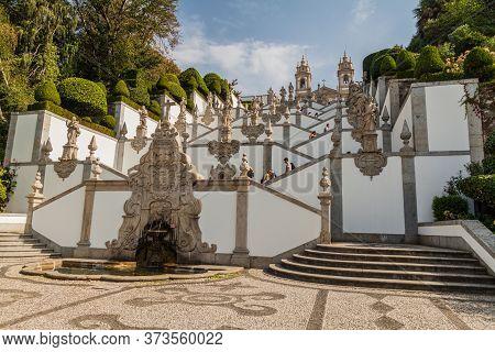 Braga, Portugal - October 16, 2017: Baroque Stairway To Bom Jesus Do Monte Sanctuary Near Braga, Por