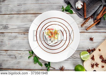 Top View On Gourmet Sweet Dessert Candied Fruit Cheesecake On A Decorated Plate, Gourmet
