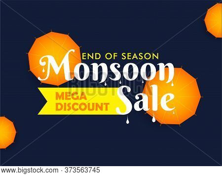 Monsoon Mega Discount Sale With Heavy Discount Sale. End Of Season Sale With Umbrella Top View.