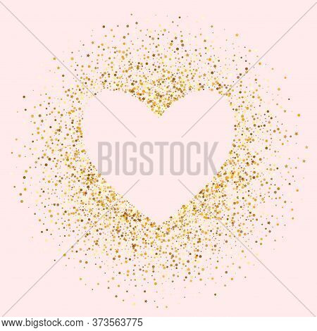 Golden Dust Light Pink Background. Bright Sparkle Backdrop. Gold Shine Glamour Texture. Glow Bridal