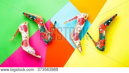 Colorful Leather Shoes Stiletto. Bright Colored Women Shoes. Beauty Fashion Concept, Stiletto. Styli