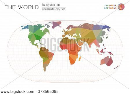Polygonal Map Of The World. Natural Earth Ii Projection Of The World. Colorful Colored Polygons. Bea