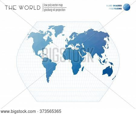 Triangular Mesh Of The World. Ginzburg Viii Projection Of The World. Blue Shades Colored Polygons. T