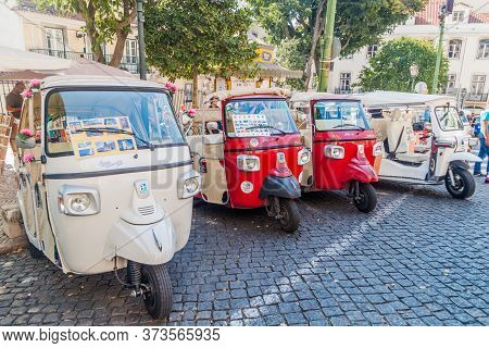 Lisbon, Portugal - October 10, 2017: Tuk Tuks In The Center Of Lisbon, Portugal