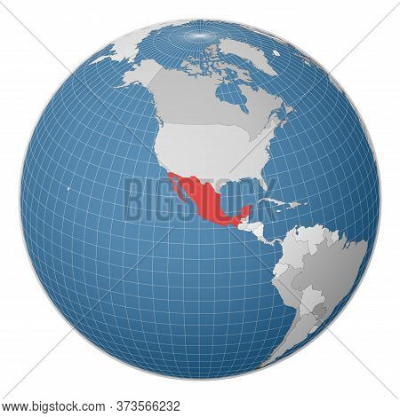 Globe Centered To Mexico. Country Highlighted With Green Color On World Map. Satellite World Project