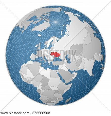 Globe Centered To Ukraine. Country Highlighted With Green Color On World Map. Satellite World Projec