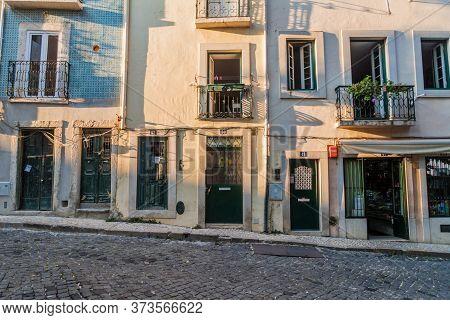 Lisbon, Portugal - October 10, 2017: Typical Houses In Alfama Neighborhood Of Lisbon, Portugal