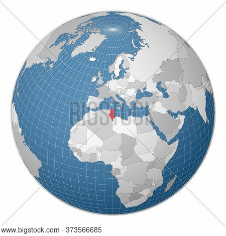 Globe Centered To Tunisia. Country Highlighted With Green Color On World Map. Satellite World Projec