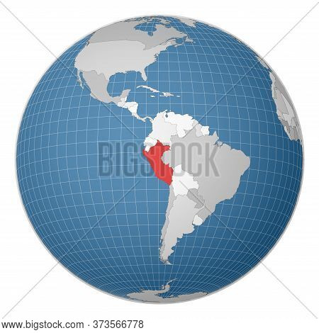 Globe Centered To Peru. Country Highlighted With Green Color On World Map. Satellite World Projectio