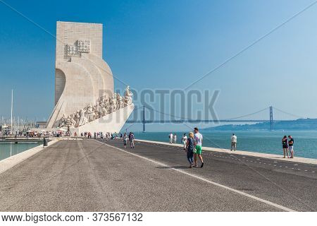 Lisbon, Portugal - October 11, 2017: People Visit Padrao Dos Descobrimentos Discoveries Monument In