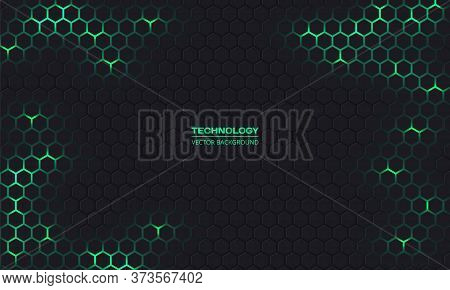 Dark Technology Hexagonal Vector Abstract Background. Green Bright Energy Flashes Under Hexagon In D