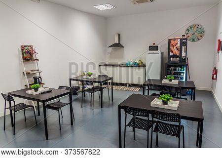 Coimbra, Portugal - October 12, 2017: Kitchen Of Coimbra Portagem Hostel In Coimbra, Portugal