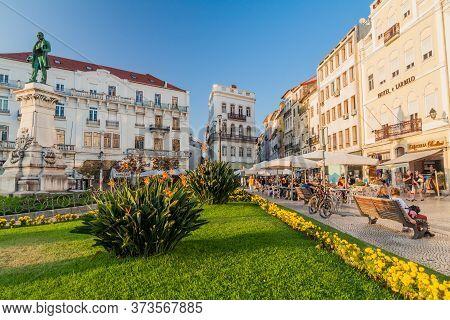 Coimbra, Portugal - October 12, 2017: Largo Da Portagem Square In Coimbra, Portugal