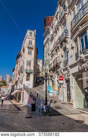 Coimbra, Portugal - October 13, 2017: Narrow Streets In The Center Of Coimbra.