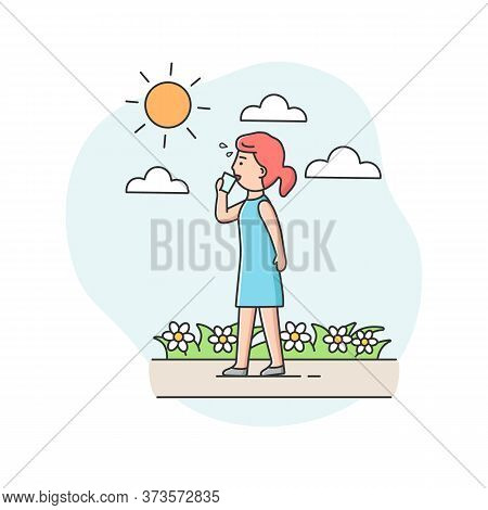 Concept Of Summer Hot Period. Woman Weary From Heat, Walk Down The Street, Drink Cold Drink, To Cool