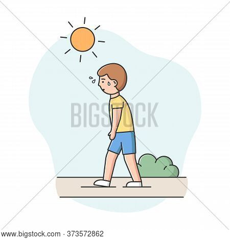 Concept Of Summer Hot Period. Man Weary From Heat Is Walking Down The Street In The Park Under The S
