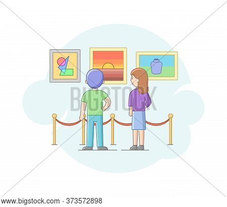 Modern Art Concept. Boy And Girl Visit Art Gallery, Admire Of Exhibition. Characters Examine Creativ