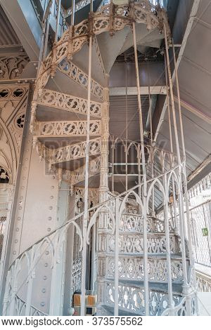 Wrought Iron Stairway To The Viewpoint At Santa Justa Elevator In Lisbon, Portugal
